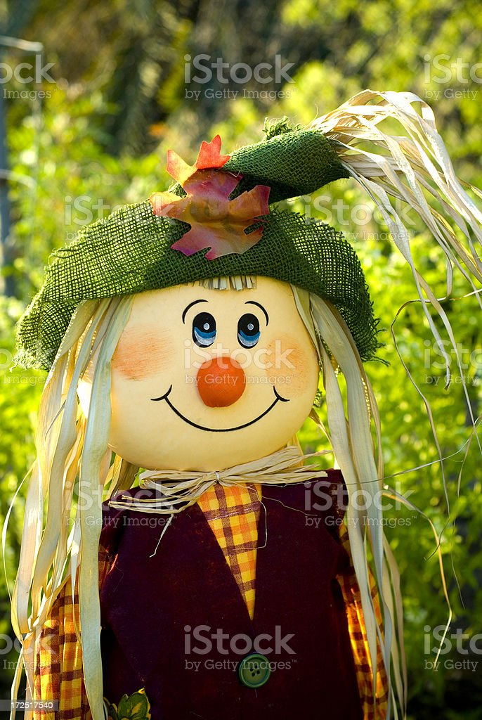 Cheerful Smiling Scarecrow Face, Autumn Outdoors Front Yard Background royalty-free stock photo