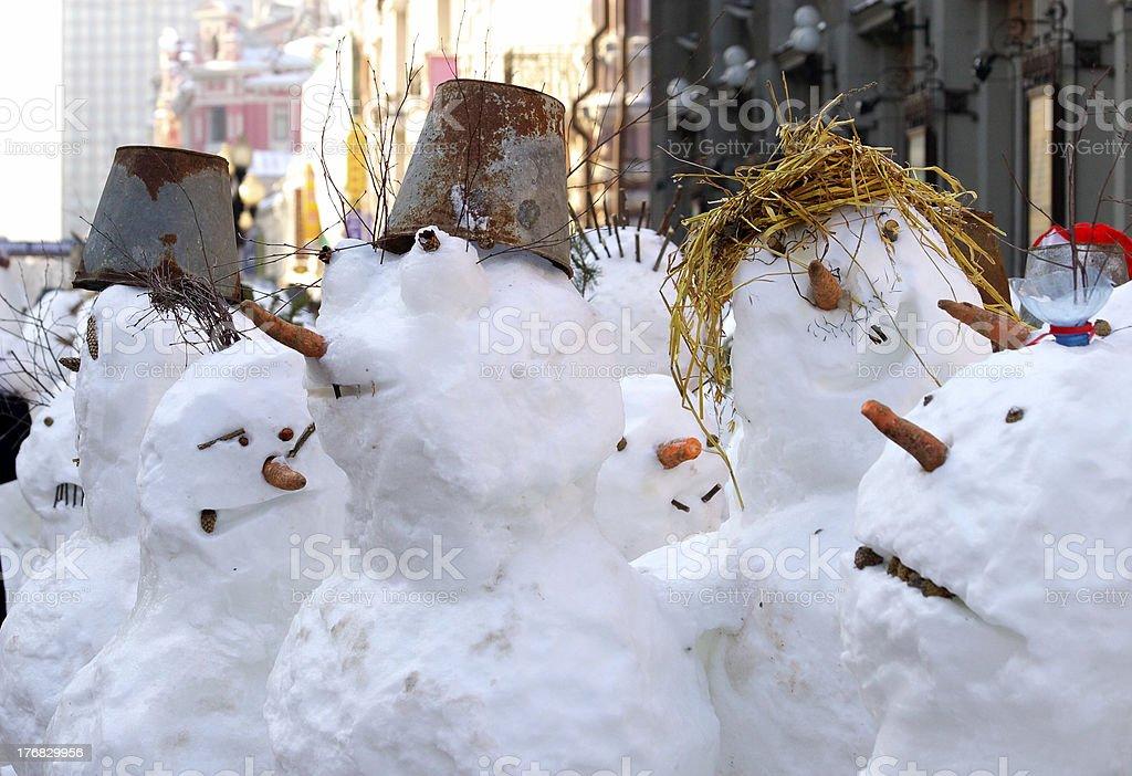 Cheerful snowmen royalty-free stock photo