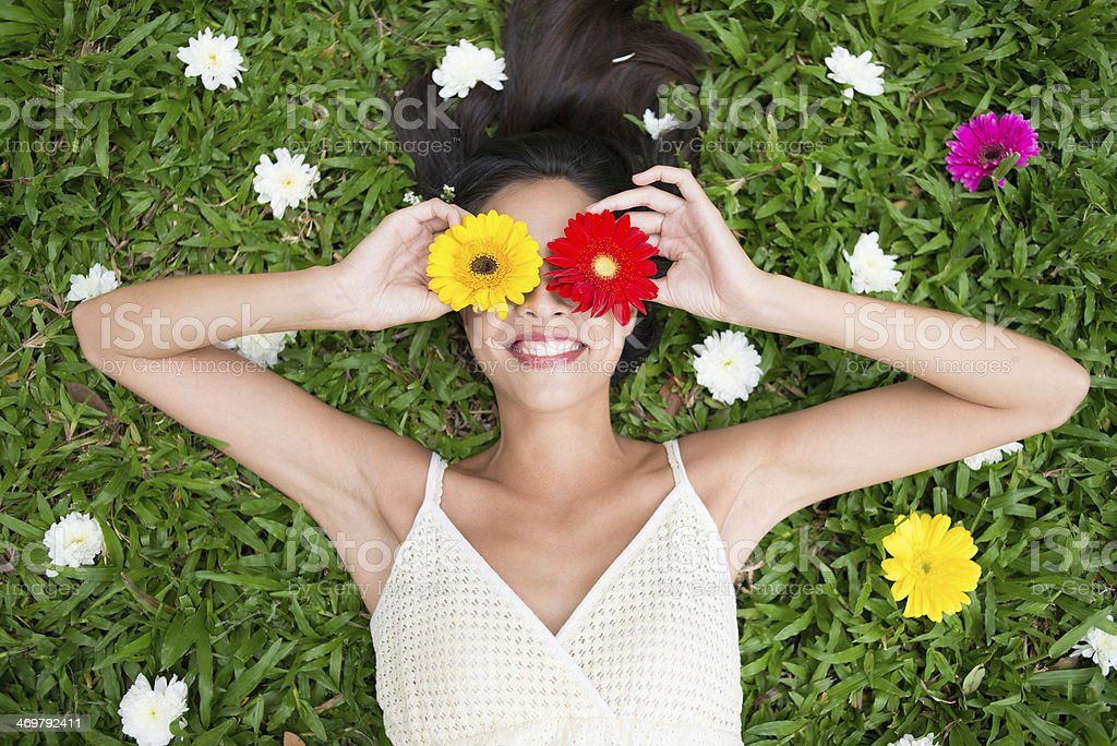 Cheerful spring beauty stock photo