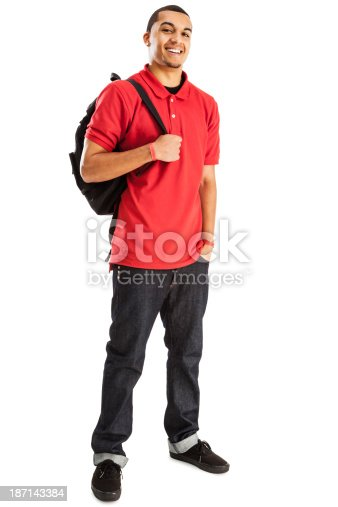 istock Cheerful Student with Book Bag 187143384