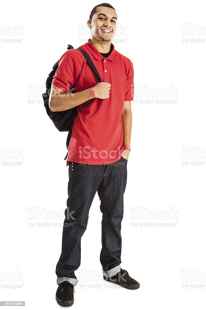 Cheerful Student with Book Bag stock photo