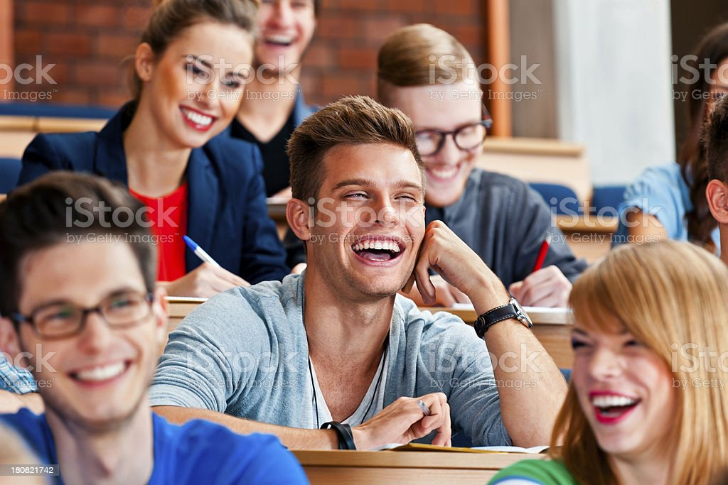 Cheerful students at the lecture royalty-free stock photo