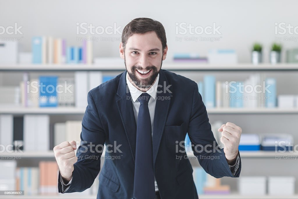 Cheerful successful businessman royalty-free stock photo