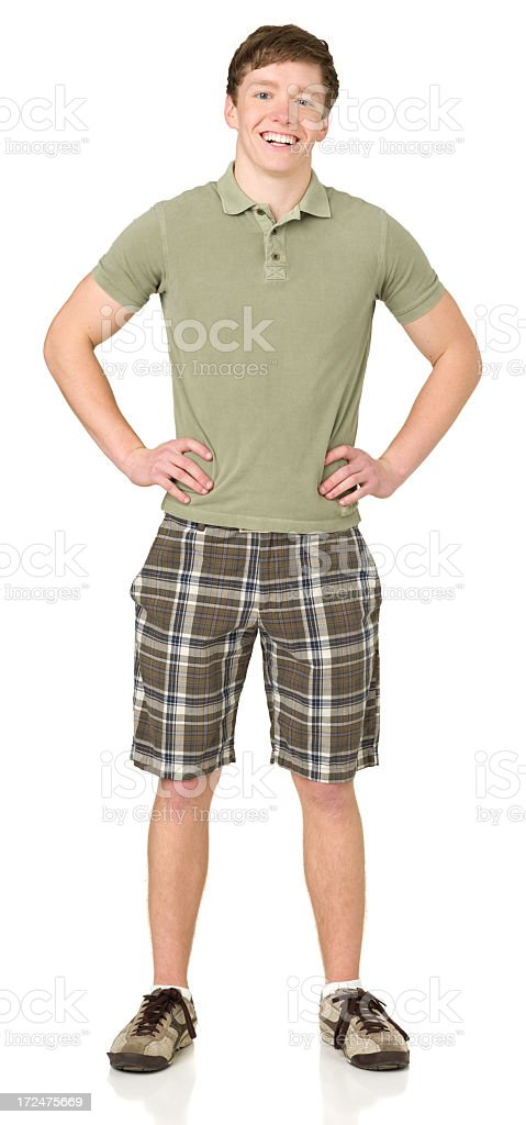 Cheerful Teenage Boy Posing, Hands On Hips, Full Length stock photo