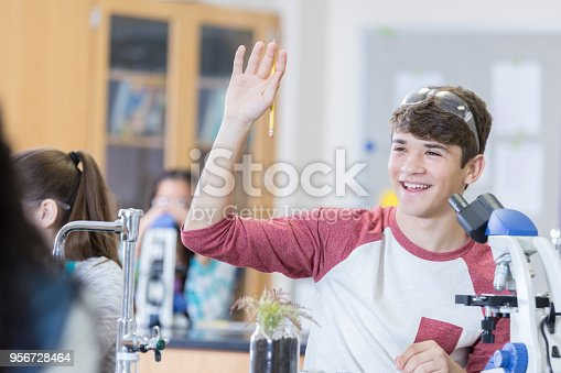 1097006206 istock photo Cheerful teenage boy raises hand in chemistry class 956728464