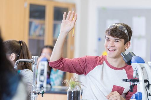 457224763 istock photo Cheerful teenage boy raises hand in chemistry class 956728464