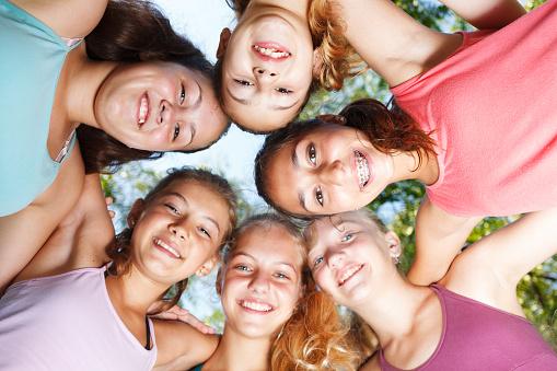 Cheerful Teenage Girls Stock Photo - Download Image Now
