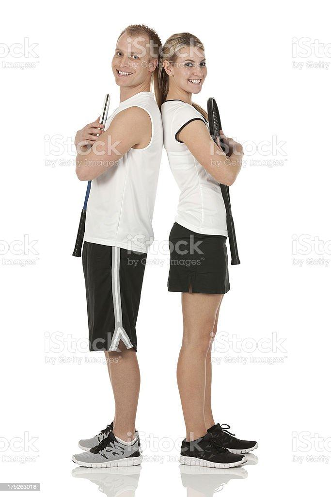 Cheerful tennis duos royalty-free stock photo
