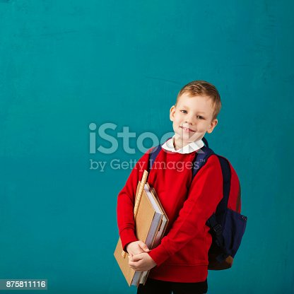 istock Cheerful thoughtful little school boy in school uniform with backpack and big pile of books standing against blue wall. Looking at camera. School concept. Back to School 875811116