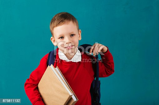 istock Cheerful thoughtful little school boy in school uniform with backpack and big pile of books standing against blue wall. Looking at camera. School concept. Back to School 875811132