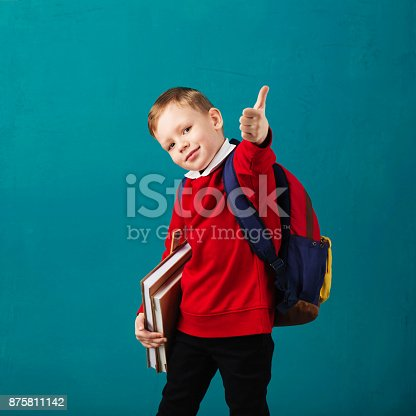 istock Cheerful thoughtful little school boy in school uniform with backpack and big pile of books standing against blue wall. Looking at camera. School concept. Back to School 875811142