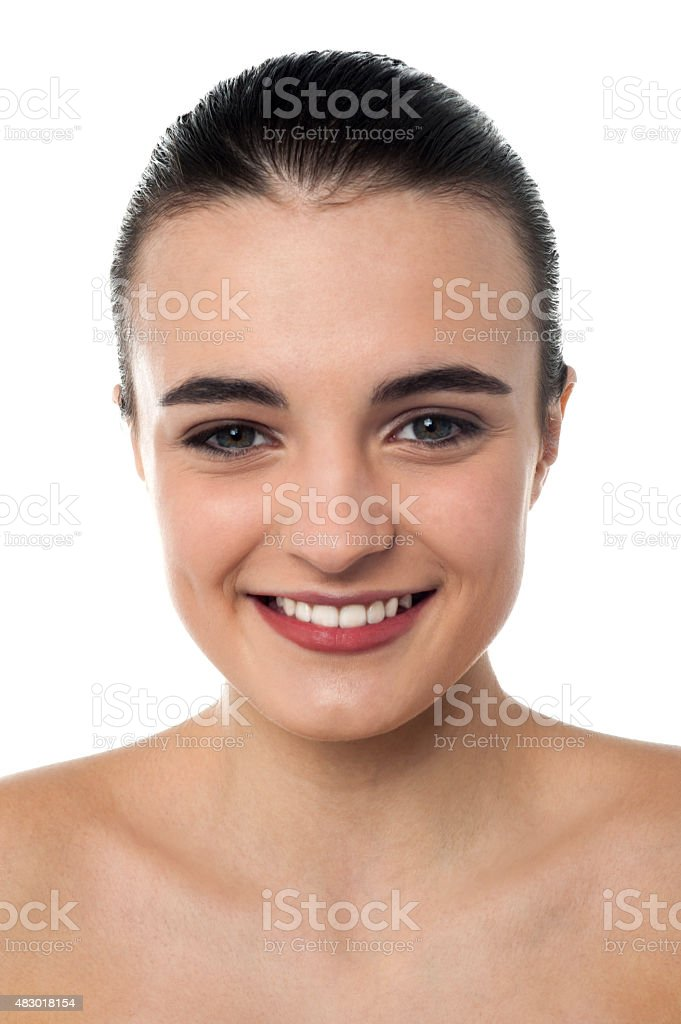 Cheerful topless girl over white stock photo