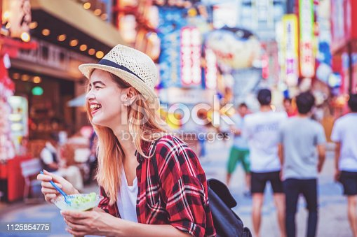 Travel, Tourism, Vacation, Enjoyment - Young attractive cheerful female tourist holding a cup of ice cream while having a cheerful conversation with her friends at the famous market streets of Shinsekai, in Osaka, Japan