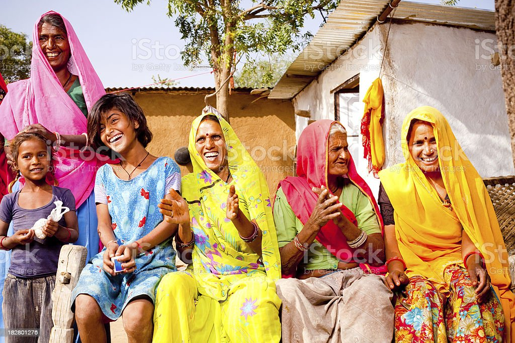 Cheerful Traditional Rural Indian Family of Rajasthan stock photo