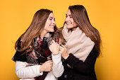 Cheerful twins sisters posing with scarf.