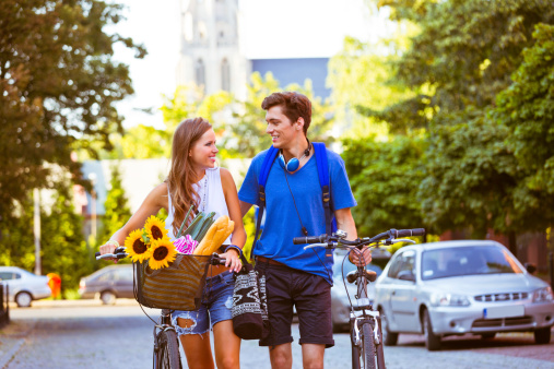 Cheerful Urban Young Couple Stock Photo - Download Image Now
