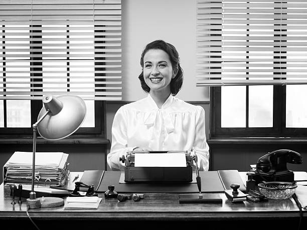 cheerful vintage secretary - 1950s style stock photos and pictures