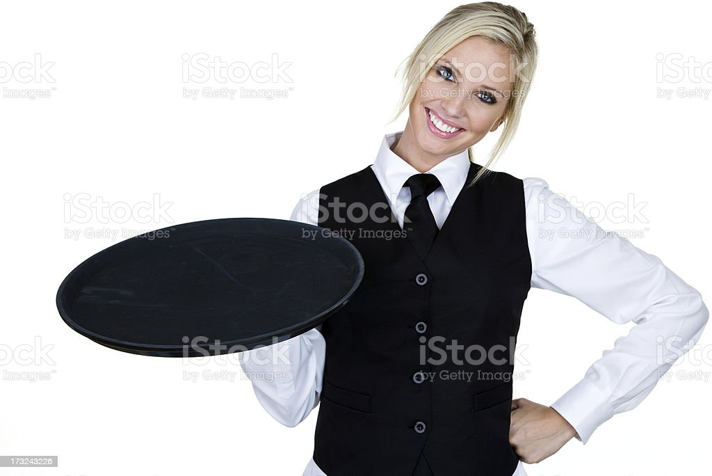 Cheerful waitress stock photo