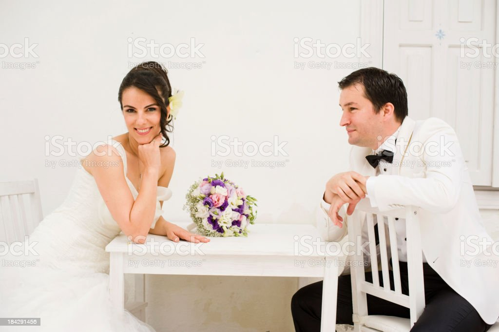 Cheerful Wedding Couple royalty-free stock photo