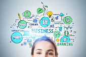 istock Cheerful woman and her business plan 1282110628