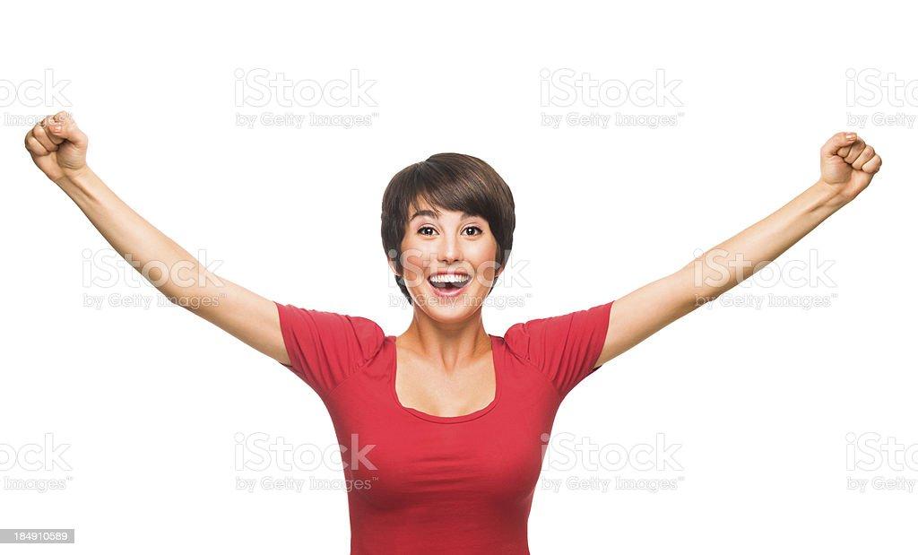 Cheerful woman celebrating royalty-free stock photo