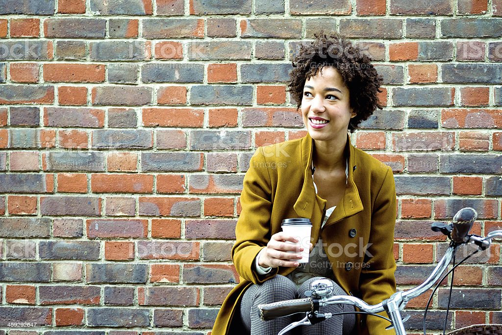 Cheerful Woman Drinking Tea stock photo