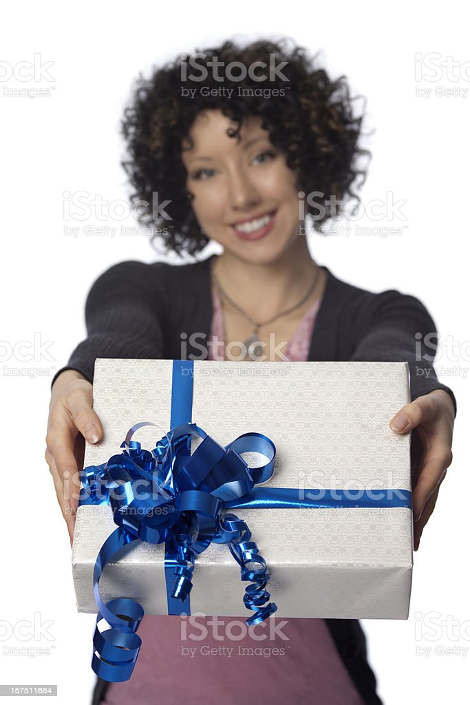 Cheerful Woman Giving a Gift stock photo