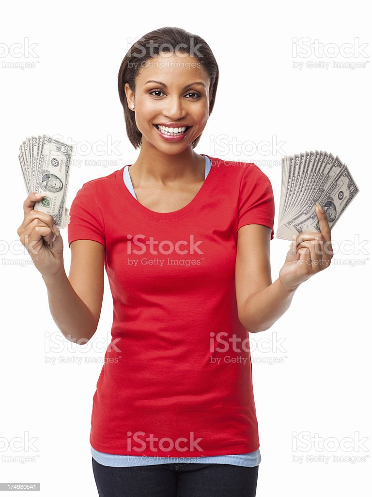 Cheerful Woman Holding Handful Of Money - Isolated stock photo