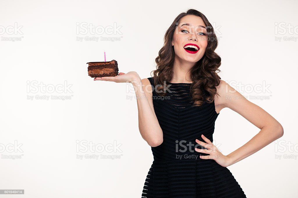 Admirable Cheerful Woman Holding Piece Of Chocolate Birthday Cake With Personalised Birthday Cards Bromeletsinfo