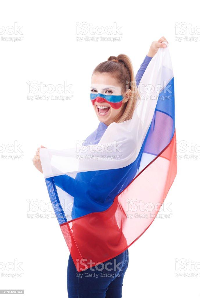 Bandeira russa de exploração de mulher alegre - foto de acervo