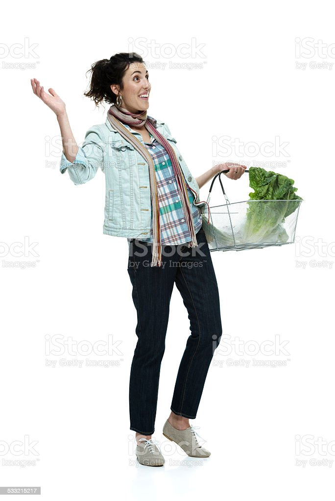 Cheerful woman looking shocked & surprised stock photo