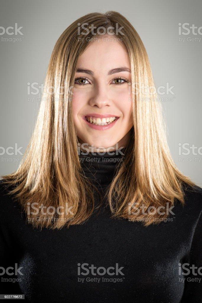 Cheerful woman portrait stock photo