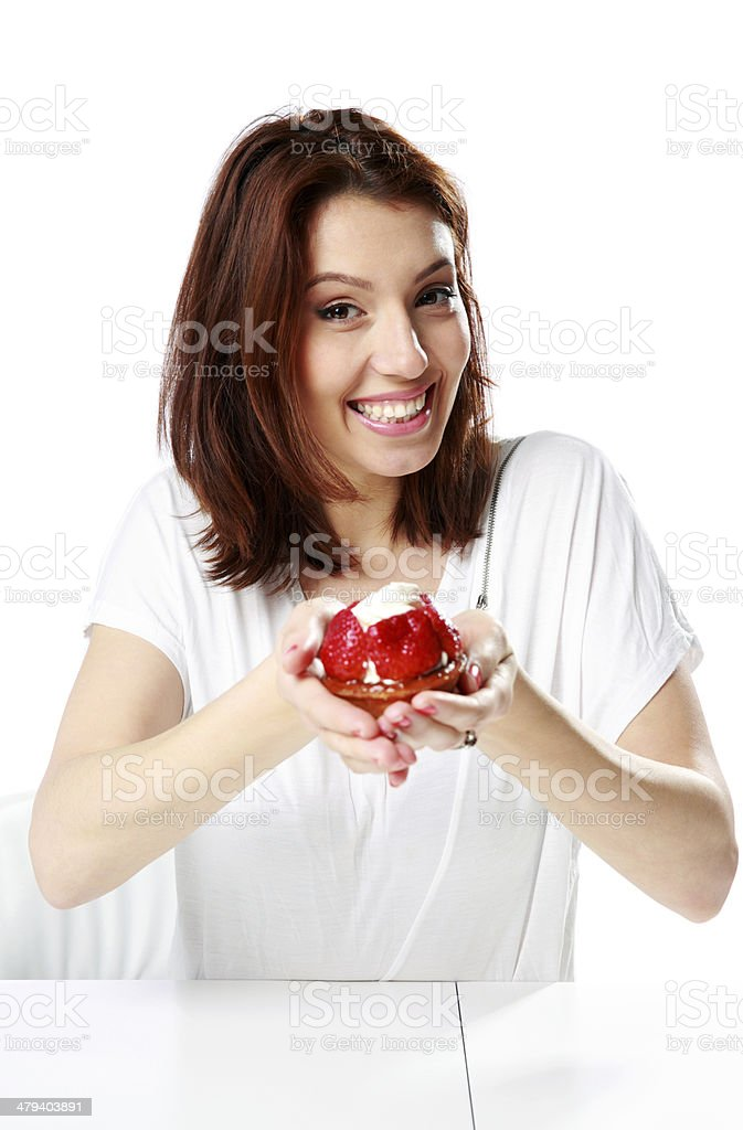 Cheerful woman sitting at the table royalty-free stock photo