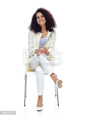 Cheerful woman sitting on chairhttp://www.twodozendesign.info/i/1.png
