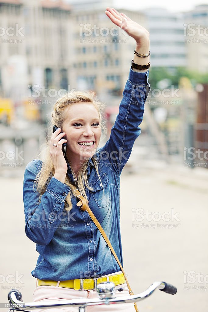 Cheerful Woman Talking On Phone royalty-free stock photo