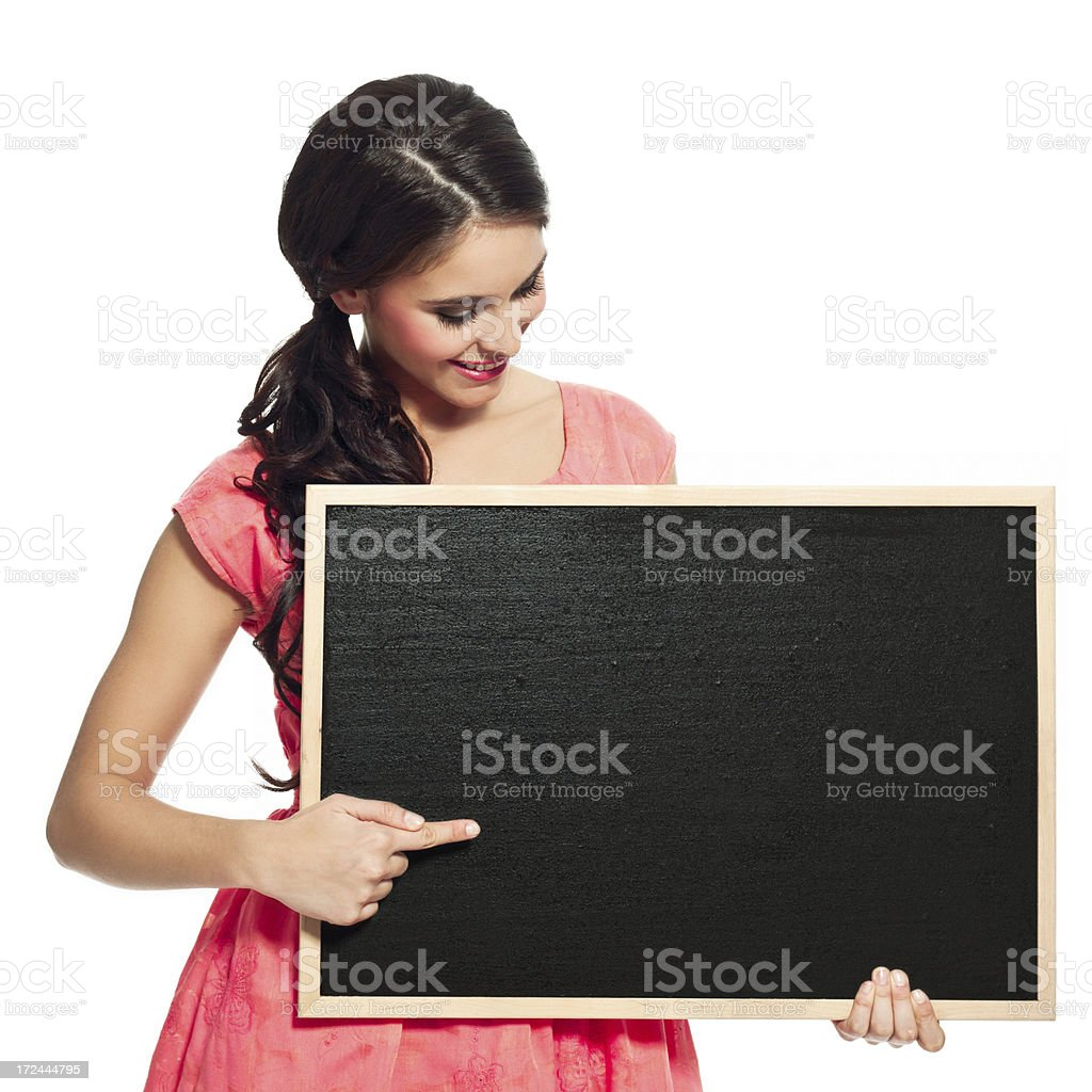Cheerful woman with blackboard royalty-free stock photo