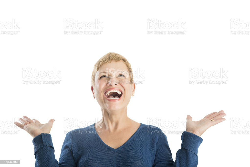 Cheerful Woman With Hands Raised Looking Up royalty-free stock photo
