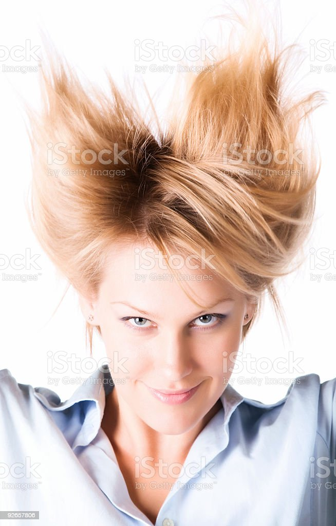 Cheerful woman with turn up hair royalty-free stock photo