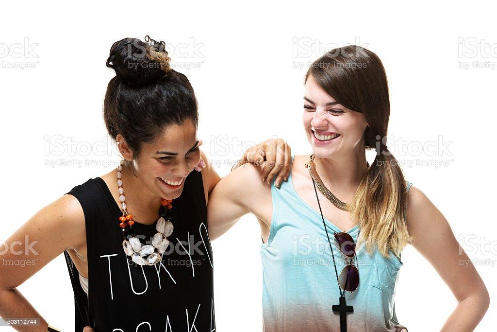 Cheerful women laughing stock photo