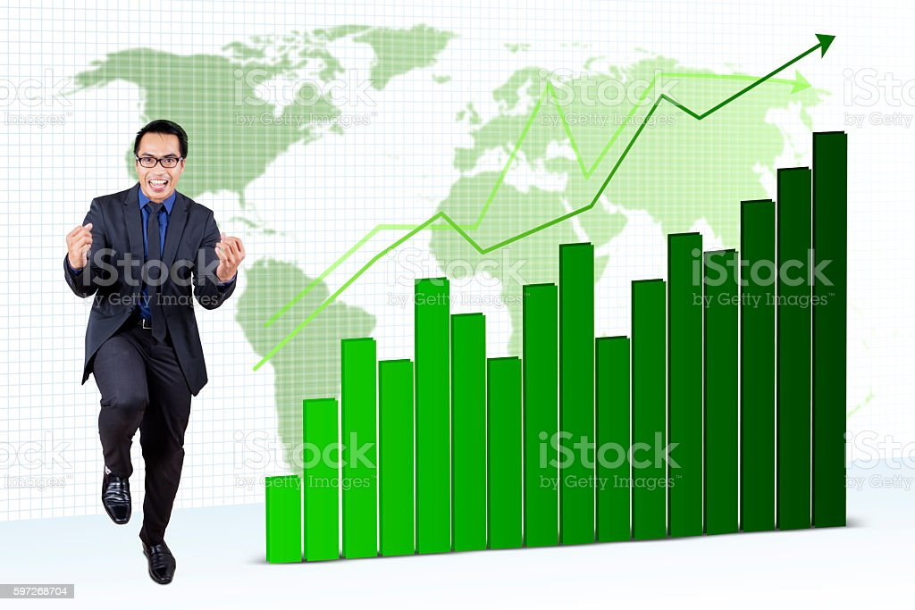 Cheerful worker with financial statistics Lizenzfreies stock-foto