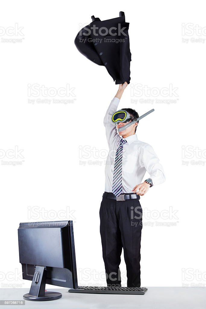 Cheerful worker with goggles isolated royalty-free stock photo