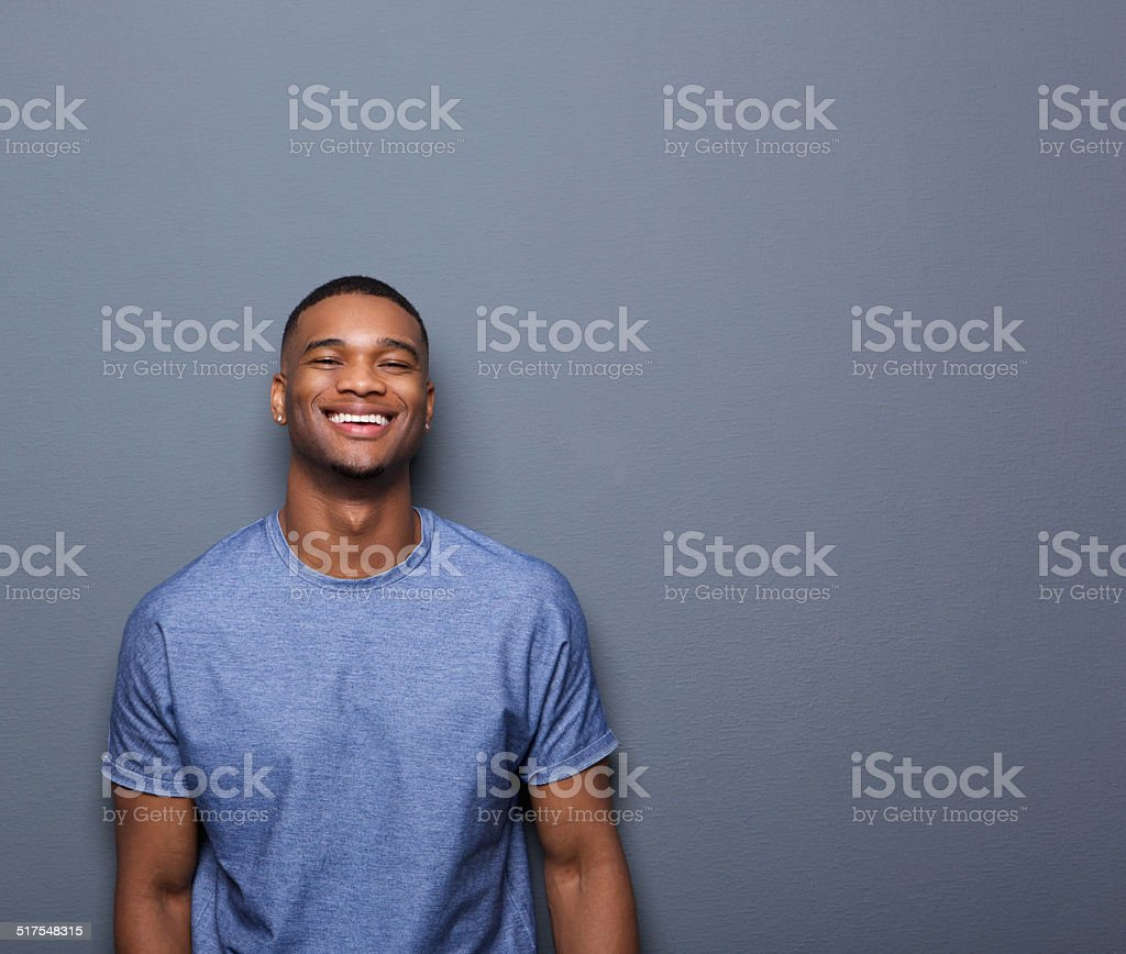 Cheerful young african american man stock photo