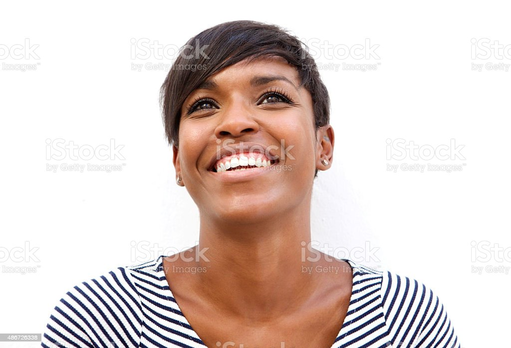Cheerful young african american woman smiling stock photo