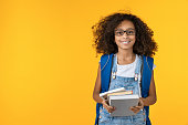 istock Cheerful young african girl kid in eyeglasses holding notebook and books for study isolated over yellow background 1202500051
