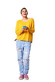 istock Cheerful young african lady with mobile phone 539465590