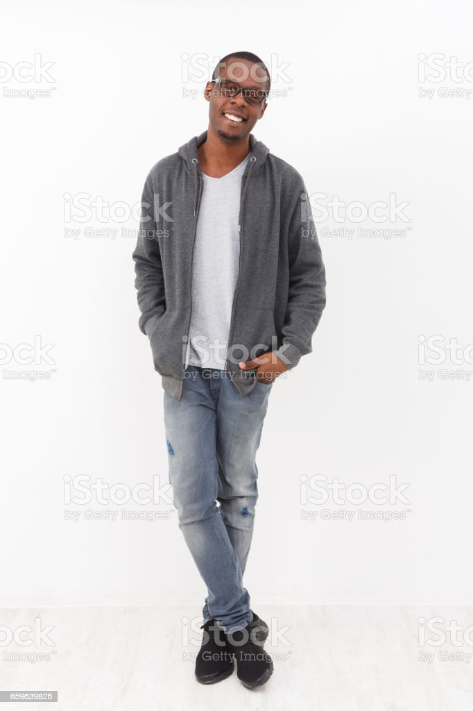 Cheerful young african-american man portrait stock photo