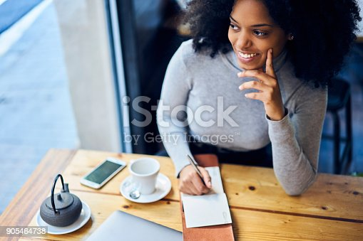 istock Cheerful young afro american female writer inspiring by good mood and sunny morning while starting to work in cafe continue writing her new detective novel for book house while drinking hot tea 905464738
