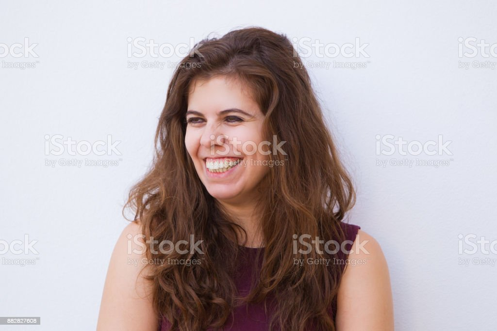 Cheerful Young Beautiful Brown-haired Woman stock photo