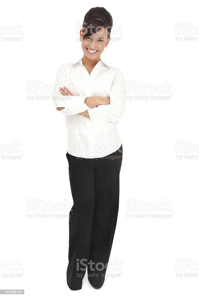 Cheerful Young Businesswoman in White royalty-free stock photo