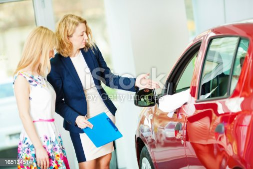 istock Cheerful Young Couple Buying Car. 165134514